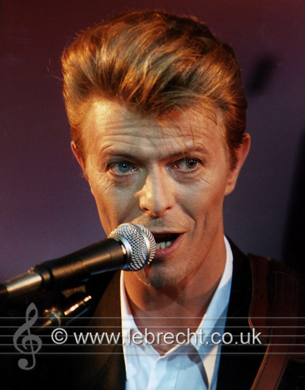 David Bowie performing onstage, October 1995