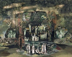 BAL312255 Stage design for Prokofiev's opera Semyon Kotko, 1970 (tempera on plywood) by Levental, Valery Jakovlevich (b.1938); State Museum and Exhibition Centre ROSIZO, Moscow; (add.info.: Semyon Kotko (Cemeh Komko in Russian) is an opera in five acts by Sergei Prokofiev (Op. 81) to a libretto by Sergei Prokofiev and Valentin Katayev based on Valentin Katayev's 1937 novel I Am The Son Of Working People;); Russian,  in copyrightPLEASE NOTE: This image is protected by the artist's copyright which needs to be cleared by you. If you require assistance in clearing permission we will be pleased to help you.