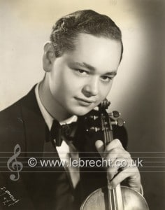 Michael Rabin - portrait with violin. American violinist, 2  May  1936 –  19 January 1972.