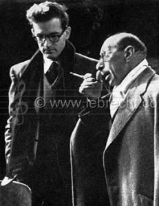 Igor Stravinsky in Munich, 1950 with Robert Craft (American Conductor and writer on Music, b.1923) around time of Rake's Progress.