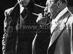 Igor Stravinsky in Munich, 1950 with Robert Craft (American Conductor and writer on Music, b.1923) around time of Rake's Progress.