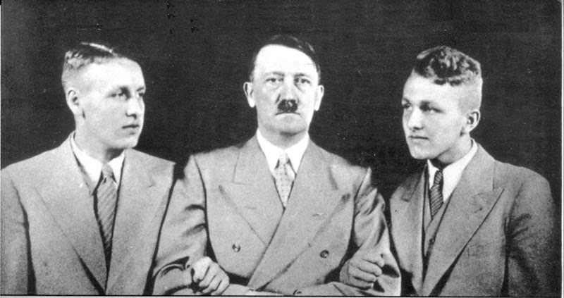 Wolfgang Wagner with Wieland Wagner and Adolf Hitler