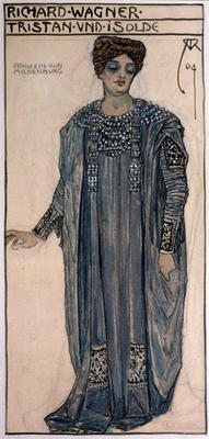 CHT167392 Copy of a costume design for Isolde, for a production of 'Tristan and Isolde' by Richard Wagner (1813-83) at the Hofoper, Vienna, February 1903, 1904; by Roller, Alfred (1864-1935); Osterreichische Nationalbibliothek, Vienna, Austria; Archives Charmet; German, out of copyright