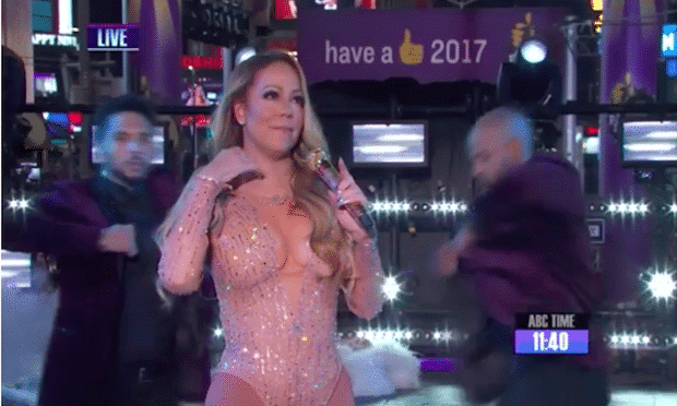 No place to hide: Mariah Carey loses it in Times Square