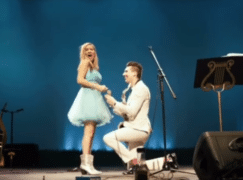 Violinist is left breathless by mid-concert proposal
