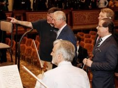 Prince Charles drops in on a Vienna Philharmonic rehearsal