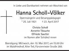 Death of a high German soprano, 95
