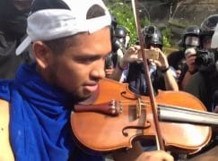 Watch: A violinist protests on Venezuela's streets