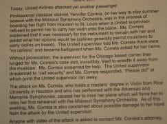 United mistreats US violinist