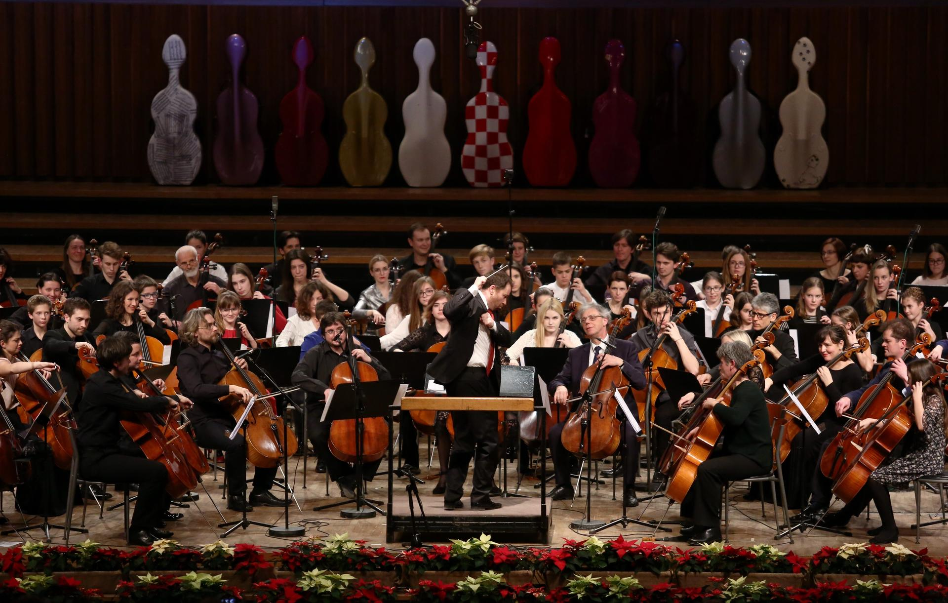 How many cellists can you cram onto an orchestra stage?