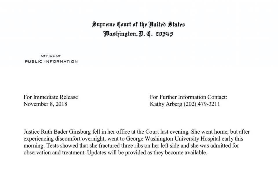 Opera-loving Justice Ginsburg is hospitalised