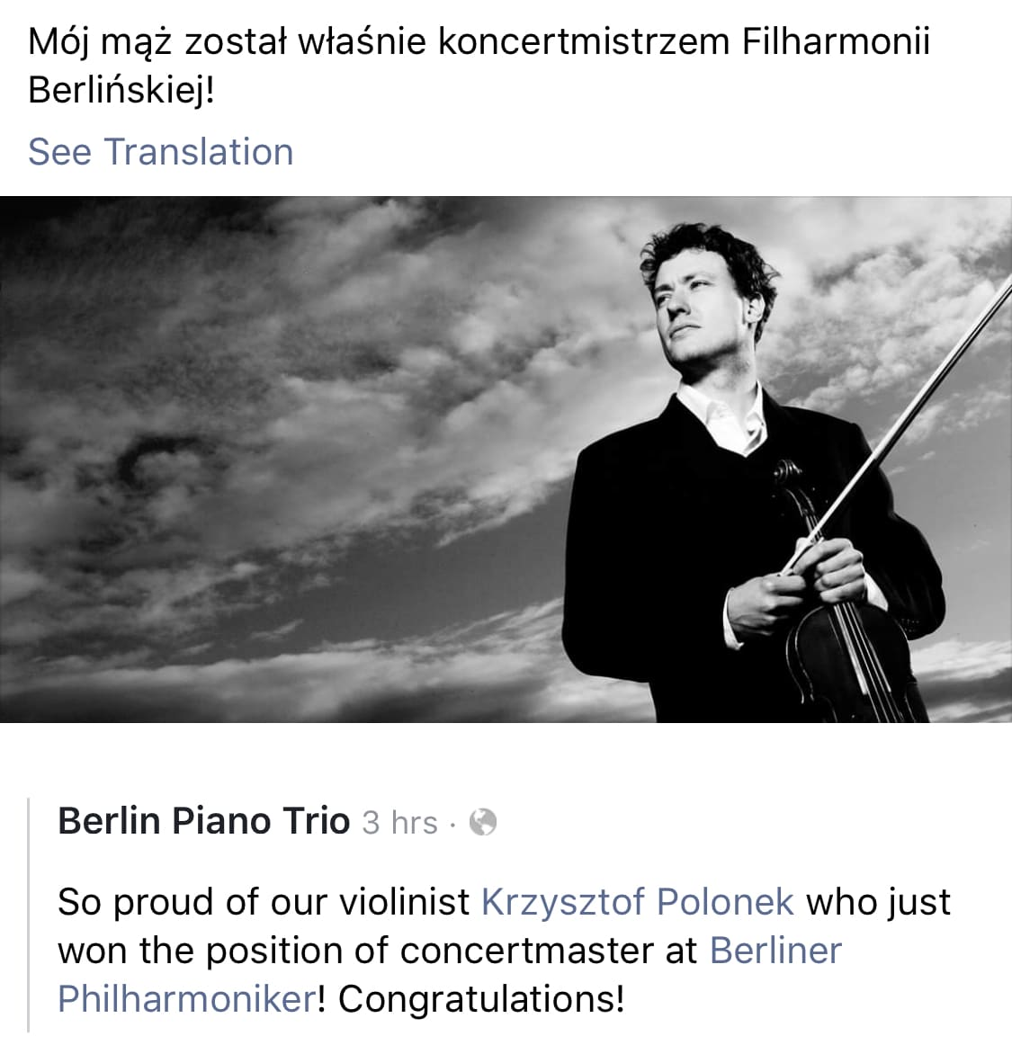 Berlin Phil confirms Polish concertmaster