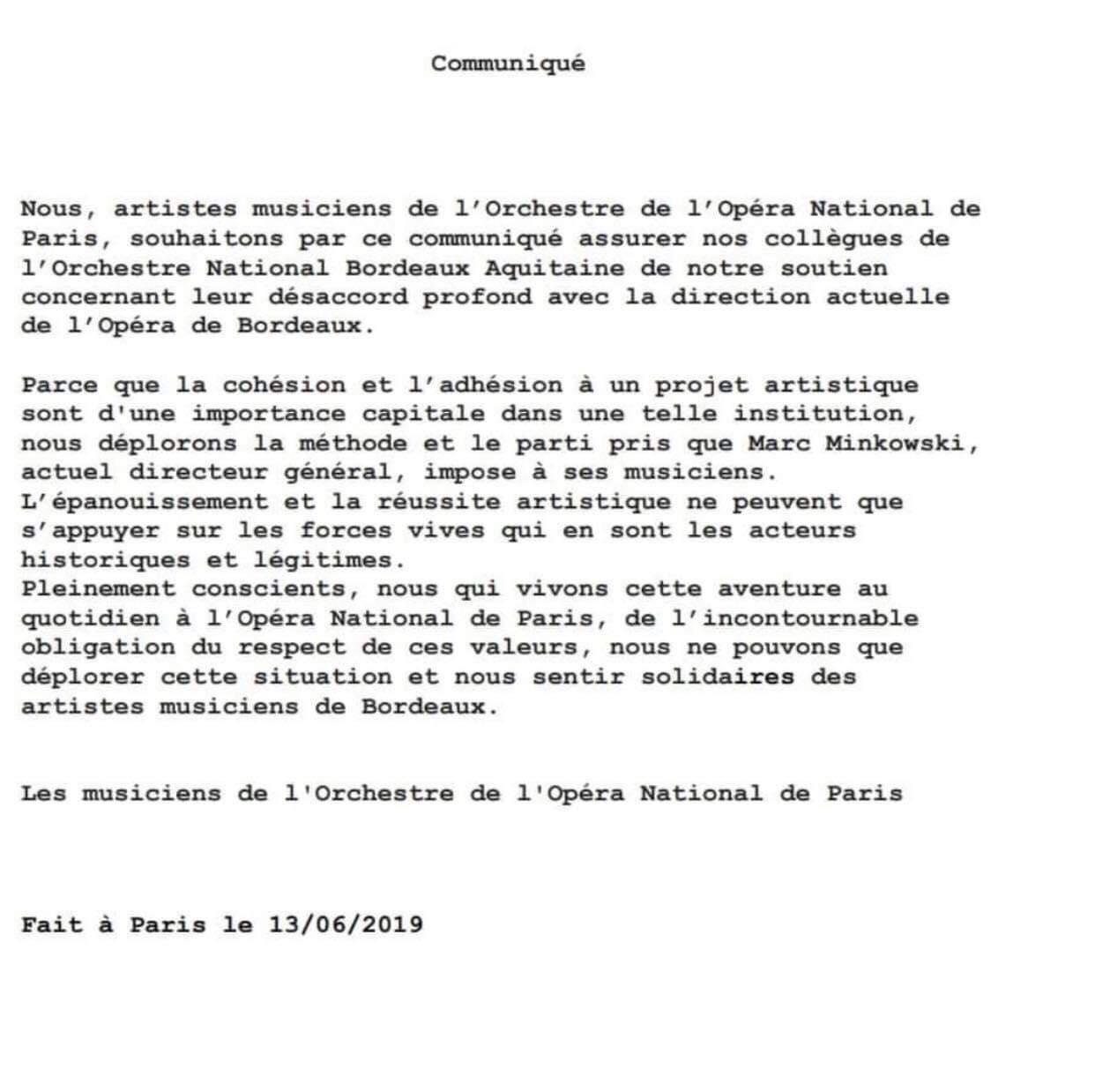 Paris Opéra musicians signal solidarity with Bordeaux