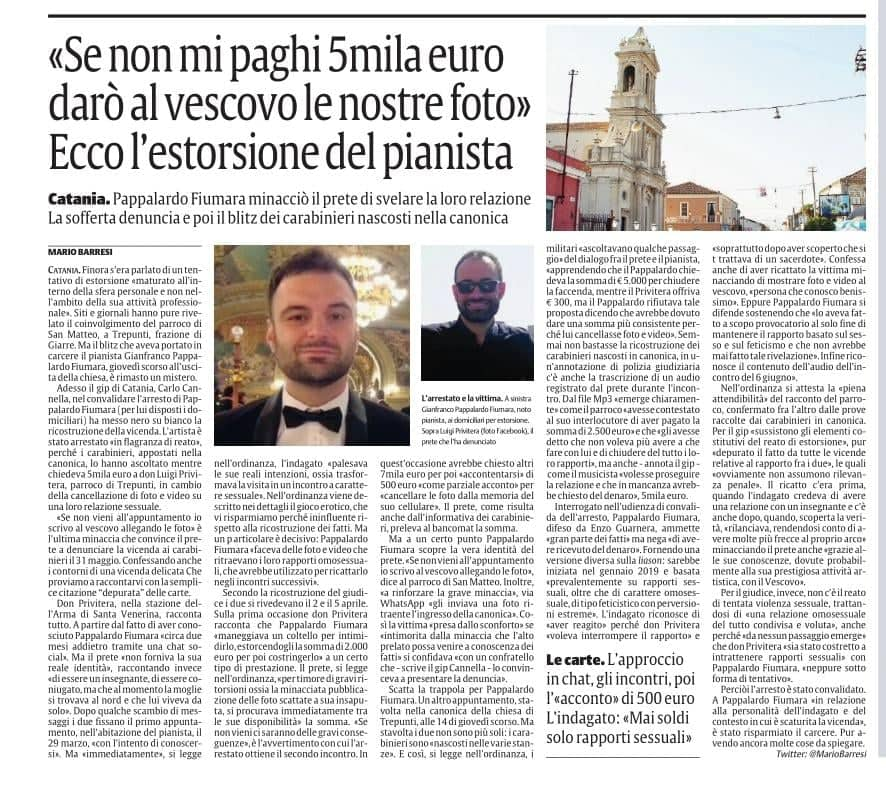 Italian pianist is arrested on extortion charges