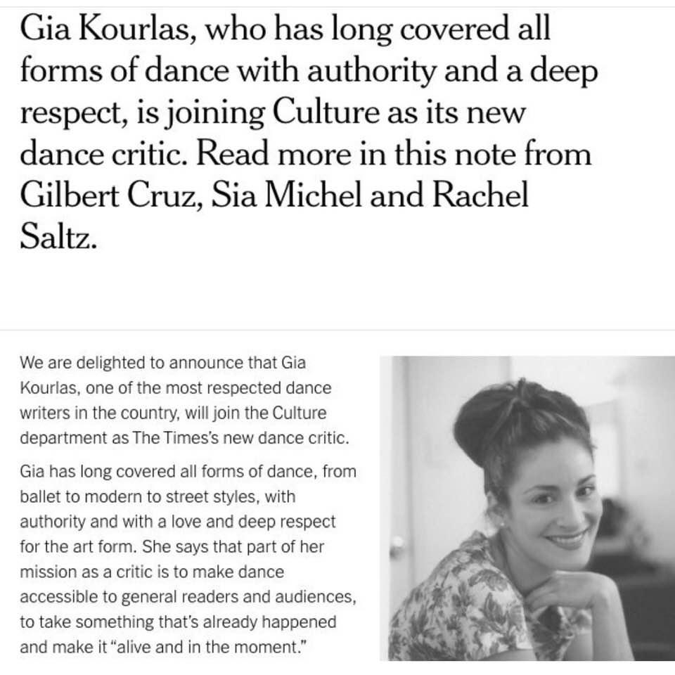 New York Times names dance critic