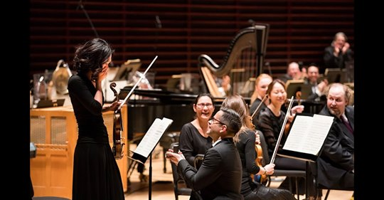 On Valentine's Night, a 2nd trumpet proposed on stage to a 1st violin