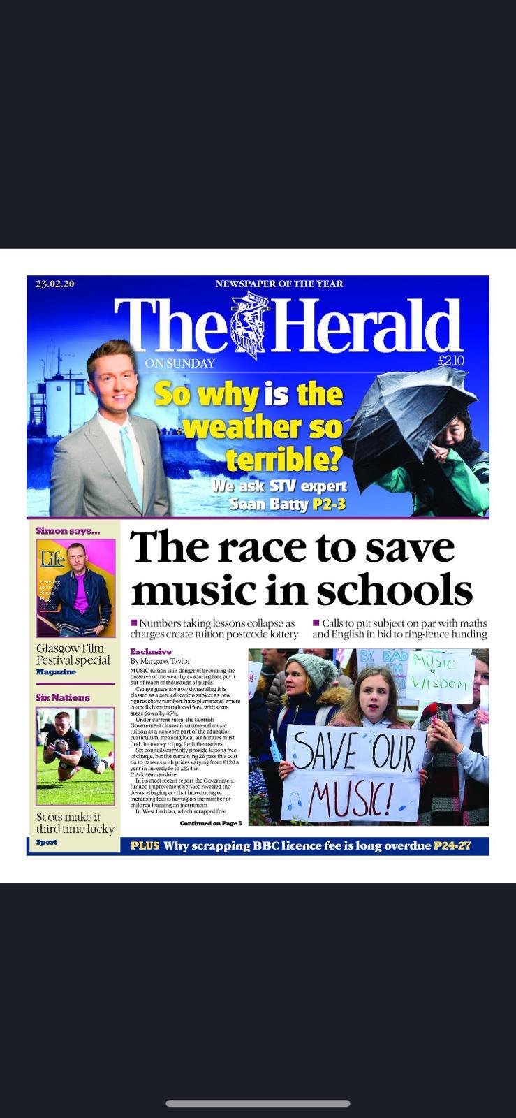 Music crisis is today's top Scottish headline