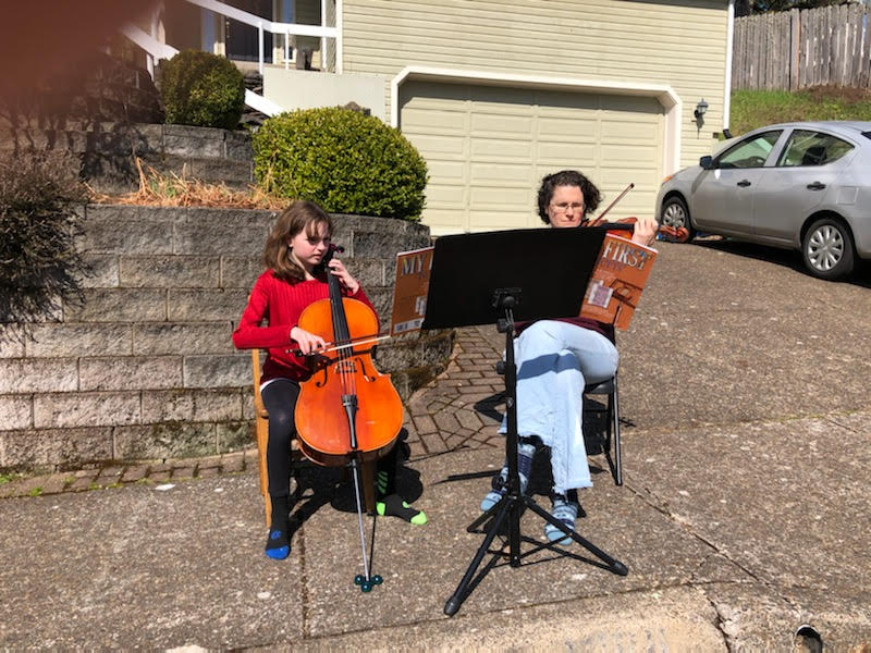 In lockdown, we play duets at the end of our driveway