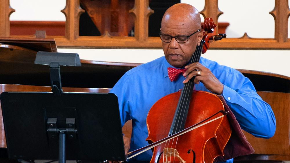 University president plays cello recitals from home