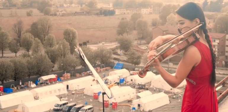 A violin plays solo on Cremona hospital roof