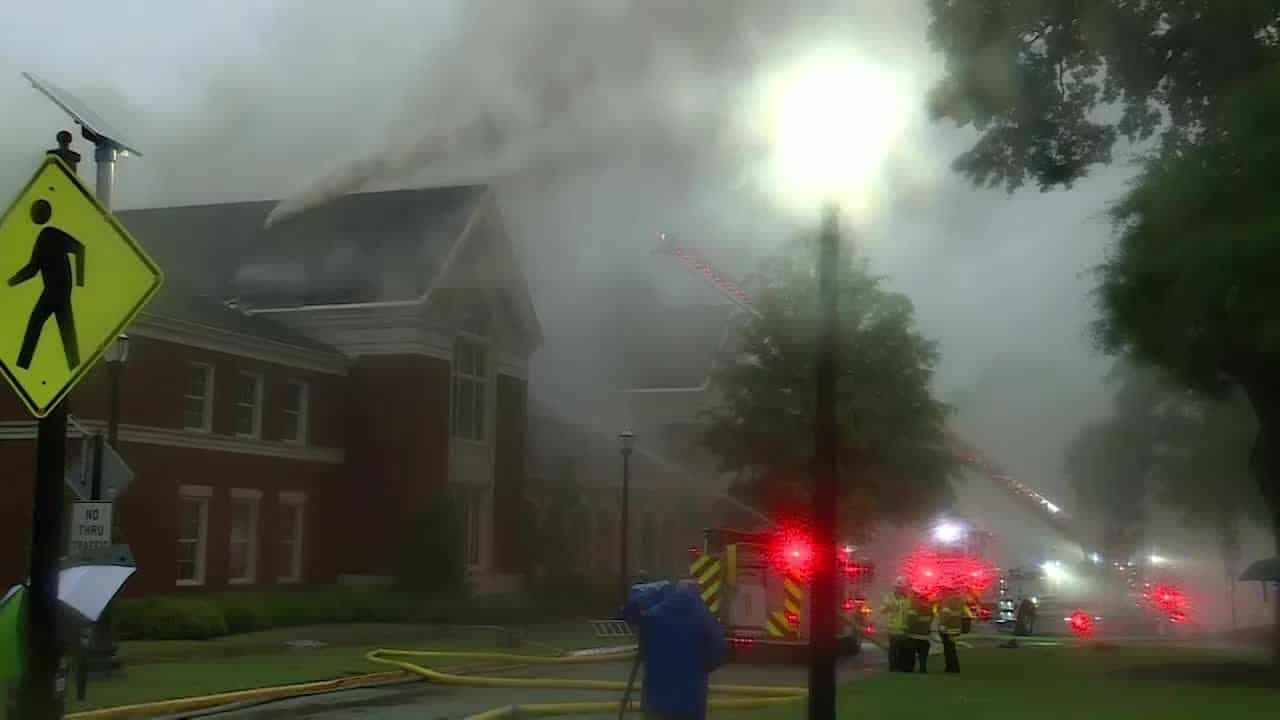 Awful sight: Music building burns on silent US campus