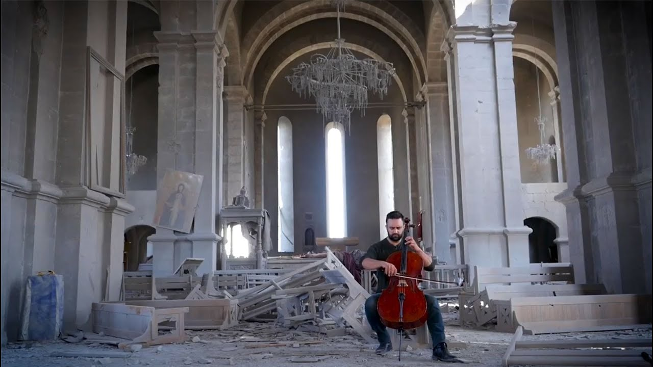 Don't look away: A cellist plays in bombed Armenian cathedral