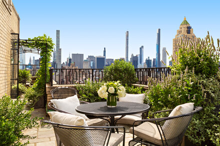 Drink on Bernstein's balcony? The penthouse is up for sale