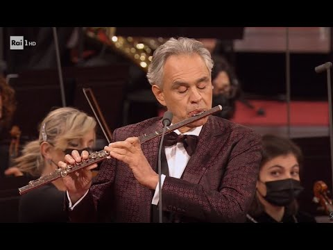 Andrea Bocelli plays flute in masked orchestra