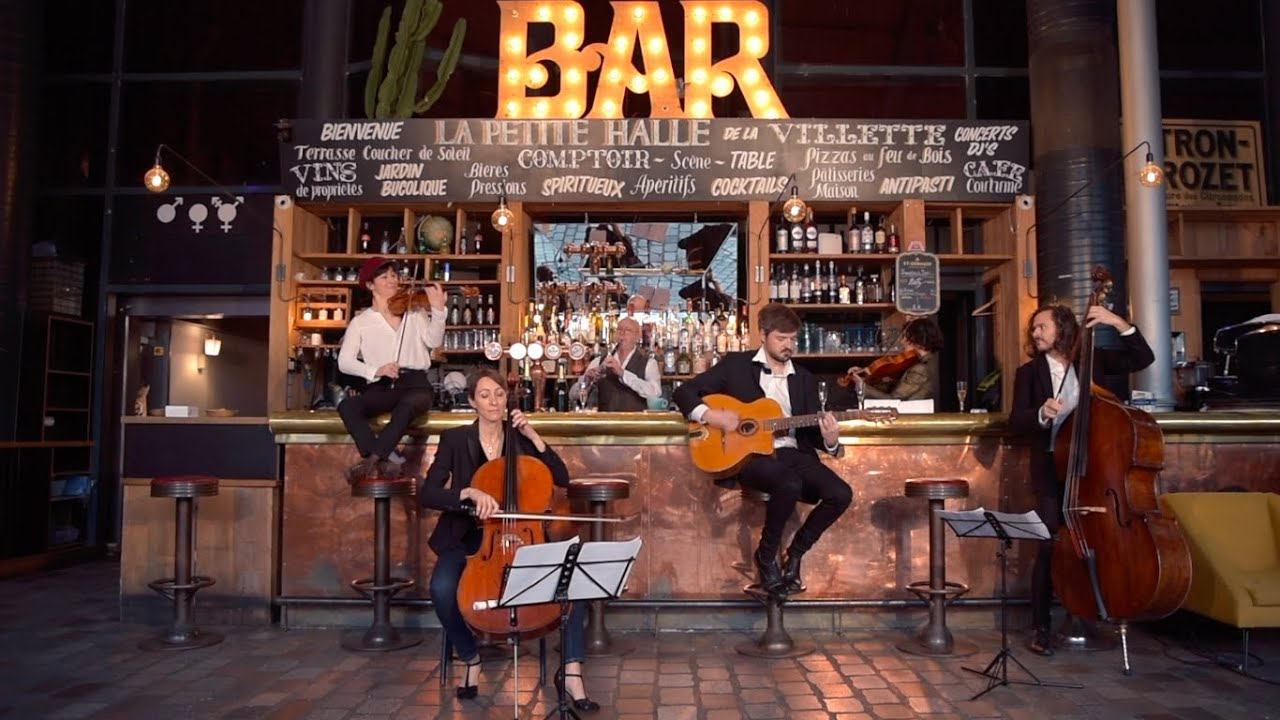 Six orchestra musicians meet in a bar on New Year's