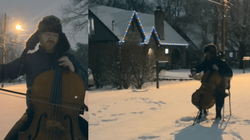 Watch cellist play the Swan in the Nashville snow