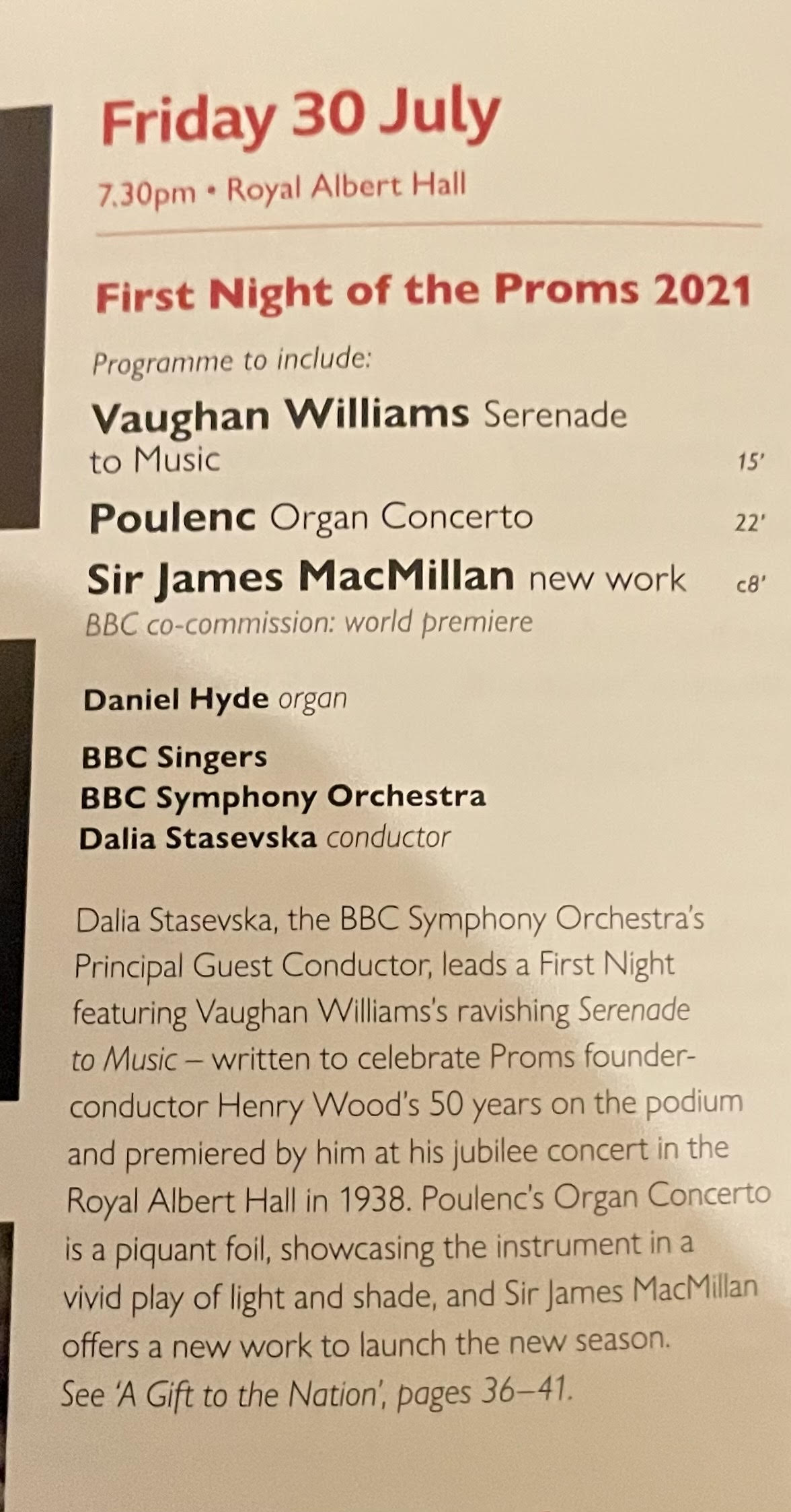 BBC omits soloists from Proms 1st night programme